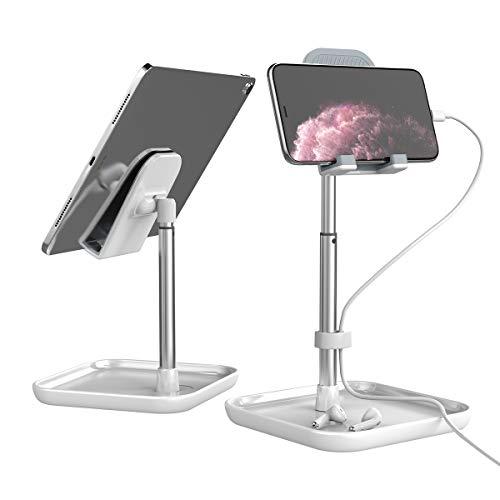 Licheers タブレットスタンド 角度と高さ調整可能 iPadスタンド 卓上 携帯 スタンド Switch, iPhone, Samsung, Sony, LG, Kindleなど(4-13インチ)に対応 日本語説明書付き - 白