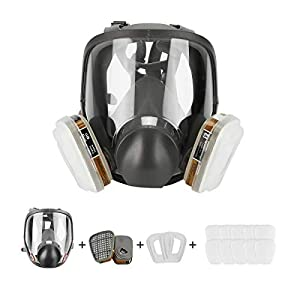 Respirator Dust Mask 15 in 1 Full Face Facepiece Respirator, Similar for 6800 Gas Chemical Dustproof Mask for Painting Spraying Welding Chemicals by King Bai Tech