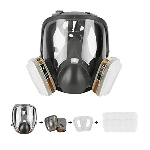 Respirator Dust Mask 15 in 1 Full Face Facepiece Respirator, Similar for 6800 Gas Chemical Dustproof Mask for Painting Spraying Welding Chemicals