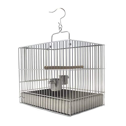 luckxuan Jaula para Pájaros Jaula de Aves de Acero Inoxidable Parrot portátil Pearl Pájaro Jaula Jaula para pájaro (Size : 20cm High)