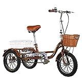 OHHG Triciclo Adultos 14 Pulgadas Cesta Trasera Perros o comestibles Marco Acero al Carbono Adultos, Mujeres, Hombres, Personas Mayores, Ejercicio, Compras