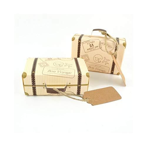 10 juegos de mini Maleta Diseño caja del caramelo de caramelo de chocolate envases de cartón caja de boda Caja de regalo con el partido de eventos for la tarjeta gift (Color : 1)