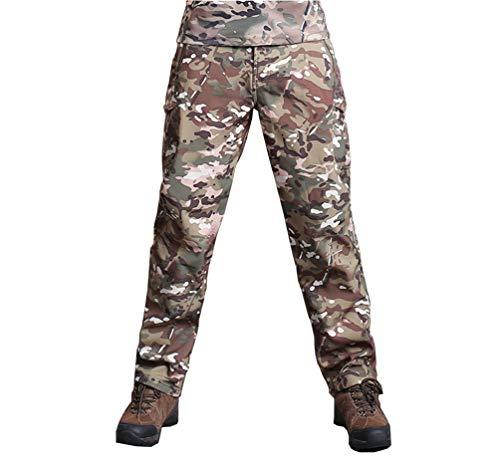 YuanDian Herren Taktisch Camouflage Softshell Hose Fleece Gefütterte Militär Army Outdoor Wanderhose Trekking Hose Wasserdicht Warm Verdicken Jagd Camping Ski Camo Hosen CP XL