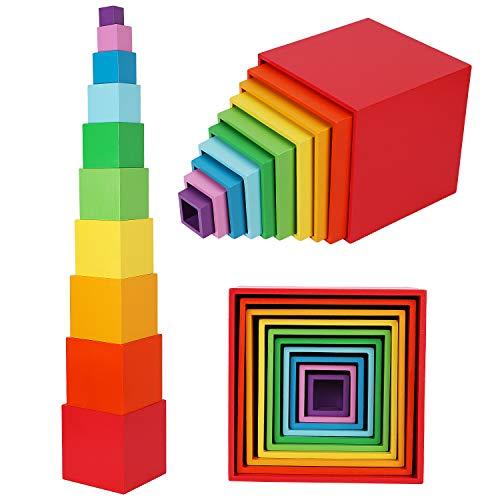 TOWO Cajas apilables de madera de colores arcoíris, vasos para anidar y clasificar, bloques para niños pequeños, cubos apilables, materiales educativos de aprendizaje Montessori para niños de 2 años