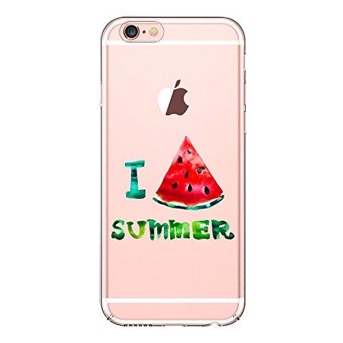 JEPER Kompatibel für iPhone 6 6S 4,7 Zoll Schutz-Hülle, Silikon TPU transparent ultra-slim Case Cover durchsichtig Kirsch-Serie(Pattern 04)