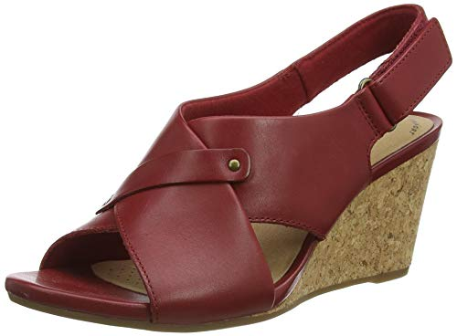 Clarks Margee Eve, Sandali con Tacco Donna, Red Leather, 35.5 EU