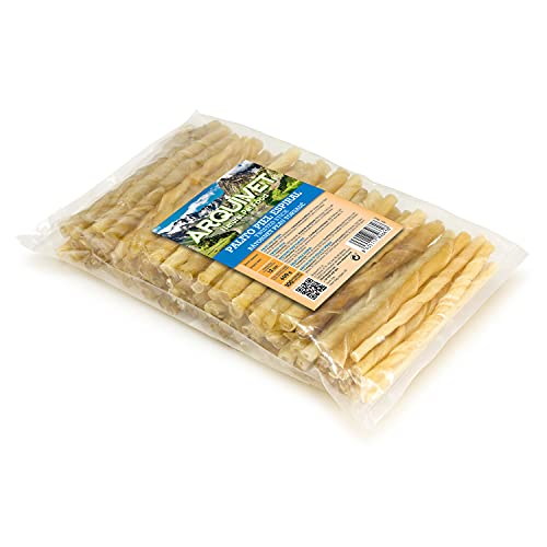Arquivet Snack Palito de Piel bovina en Espiral - Snacks de Piel para Perros - Snacks Perros Naturales - Golosinas, chuches, premios y recompensas para Perros - 12 cm (Bolsa 100 uds.)