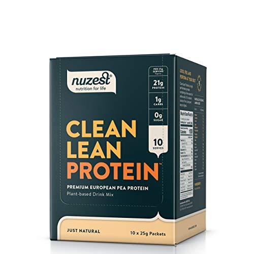Nuzest Clean Lean Protein - Premium Vegan Protein Powder, Plant Protein Powder, European Golden Pea Protein, Dairy Free, Gluten Free, GMO Free, Just Natural (UNFLAVORED), 10 Serving