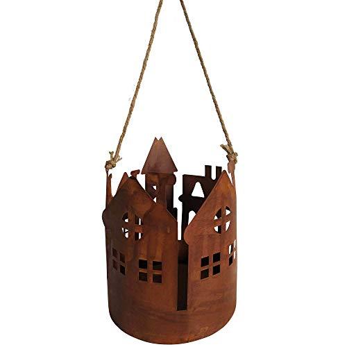 RM E-Commerce Deko Rost Laterne zum Aufhängen mit Jutekordel, Edelrost Windlicht für Garten, Terrasse, Balkon und Zuhause (mittel)