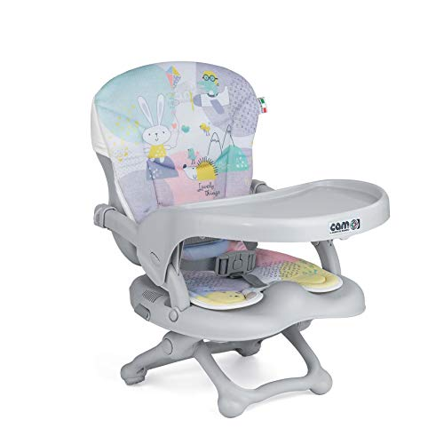 CAM Sitzerhöhung SMARTY POP | Flexibler Boostersitz & Reisekindersitz Kinder & Kleinkinder | faltbar & höhenverstellbar | 4 Höhen (0-18 cm) | Universal-Befestigung am Stuhl (Bezug Happy Animals)