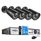 【H.265+】 Hiseeu Wired Security Camera System, 8CH 1080P Surveillance DVR with 4Pcs 1920TVL Indoor Outdoor Security Cameras, IP66 Waterproof, Human Detection & APP Alert, 24/7 Record,1TB Hard Drive