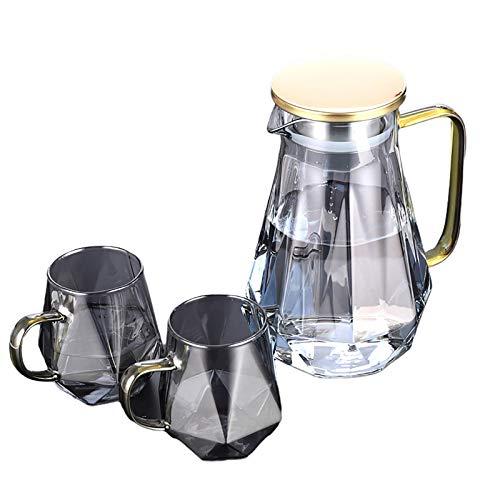 ZZJCY Botella De Agua Caliente Súper Resistente Al Frío, Hervidor De Almacenamiento De Alta Gama, Nueva Jarra De Vidrio De Borosilicato Diamond Art, Café Caliente con Jugo (50 Onzas / 1,5 litros)