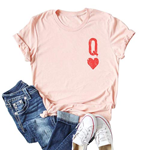 Anbech Q of Hearts Shirt Women Cute Graphic Tees Casual Short Sleeve Crew Neck Tops Pink XL
