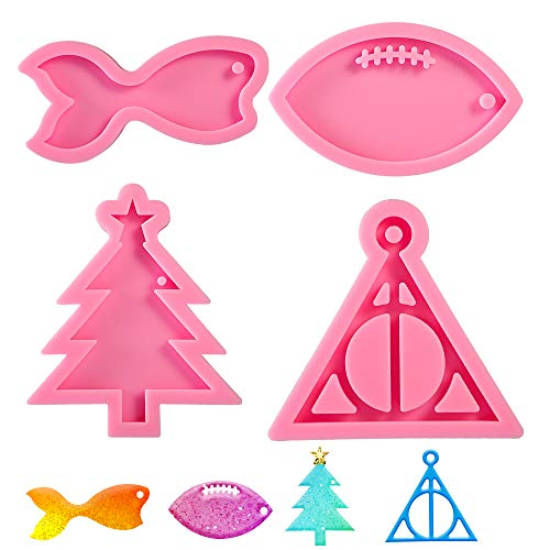 Vindar 4 Pcs Resin Molds Silicone for Keychain,Include Christmas Tree/Mermaid Tail/Football/Deathly Hallows Harry Logo Epoxy Molds for Cake Topper Decoration
