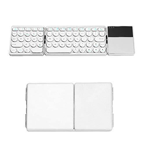 Teclado Bluetooth Plegable, Teclado inalámbrico portátil Tri-Plegable con Panel táctil, para iOS, Android, Tableta portátil con Sistema Windows
