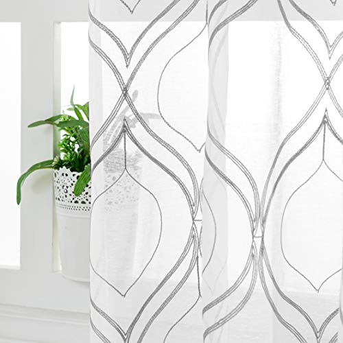 VISIONTEX Moroccan Embroidered Trellis White Sheer Curtains Panels, Decor French Textured Rod Pocket Voile Tulle Semi Window Treatment Drapes, Set of 2, Width 54 inch x Length 84 inch, Grey