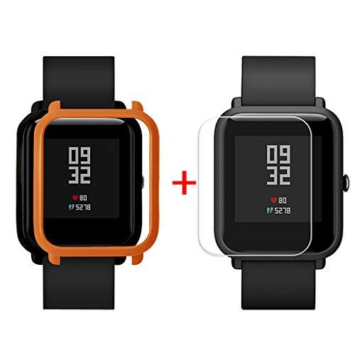 Sannysis Displayschutz Ultradünne PC Hülle Panzerglas Schutzfolie Set Kompatibel für Xiaomi Huami Amazfit Bip Youth Watch Displayschutzfolien, Schutzhülle + Panzerglas (Orange)