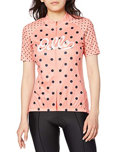 Odlo Camiseta de Cuello Alto para Mujer, Elemento S/S con Cremallera Completa, Color Coral, Talla S