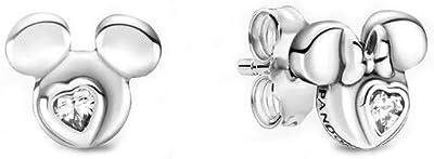 Pandora Disney Topolino e Minnie Mouse Silhouette, in argento Sterling con zirconi, dimensioni: 0,7 cm