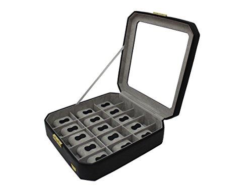 CORDAYS - Scatola Porta Orologi per 15 Orologi con Vetro di Massima qualità Fatta a Mano in Pelle Sintetica .- Colore Nero. CDM-00039