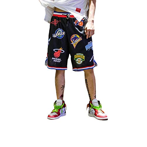 Irypulse Men's Basketball Shorts Hip Hop Printing Loose Original Design Black