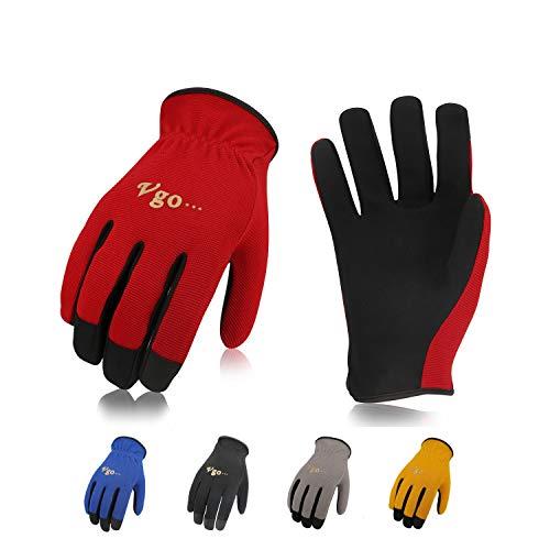 Vgo Glove Guanti, 5 paia, guanti da lavoro in pelle sintetica, guanti da giardinaggio, guanti multifunzionale per lavoro (8/M, Nero & Blu & Giallo & Rosso & Grigio, AL8736)
