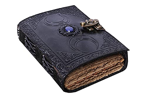 Vintage Leather Journal Semi Precious Witch Stone Black Triple Moon Design-Lock Closure, 200 Antique Deckle Edge Blank Paper-Book of Shadows, Grimoire Journal, Witch Journal for Men and Women 7x5 Inch