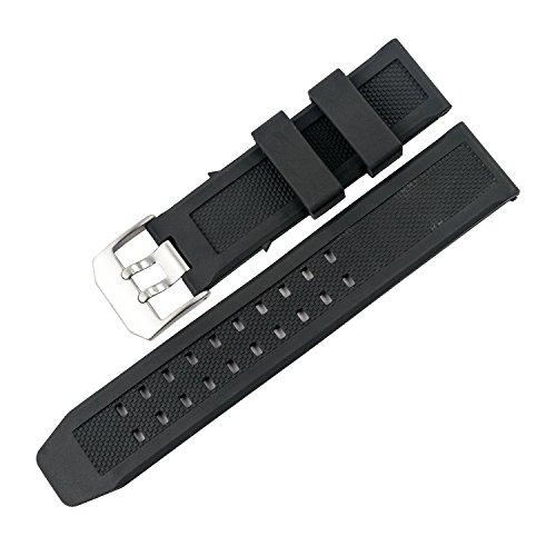 TON CHARME トンチャーメー腕時計用ベルト TPU ブラック ルミノックス 交換 汎用 23mm 互換品 防水防汗タイプ スポーツ シルバーバックル