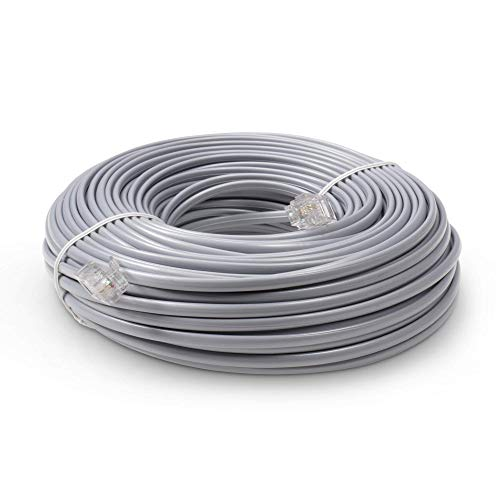 Phone Line Cord 50 Feet - Modular Telephone Extension Cord 50 Feet - 2 Conductor (2 pin, 1 line) Cable - Works Great with FAX, AIO, and Other Machines - Grey