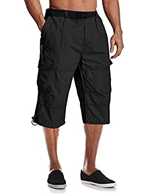 MAGCOMSEN Tactical Shorts Men Below Knee Shorts Work Shorts Men Cargo Shorts Loose Fit Baggy Shorts 3/4 Pants Long Shorts Hiking Shorts Capri Pants for Men Black