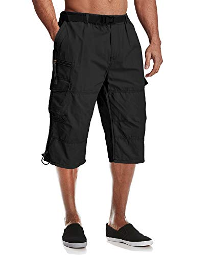 MAGCOMSEN Capri Pants for Men Cargo Shorts Casual Shorts Relaxed Fit Summer Shorts 3/4 Pants Work Shorts Men Tactical Shorts Camping Shorts Knee Length Shorts Black