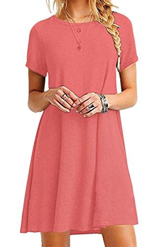 YMING Damen Casual Shirtkleid Kurzarm Langes Shirt Rund Ausschnitt Basic Tunikakleid,Koralle,XXL/DE 44