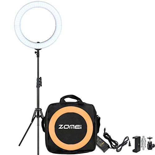 ZOMEI 18 Dimmable Photography Lights with Stand, Professional 58W 5500K Output Makeup and YouTube Video LED Ring Light, Compatible with Camera Smartphone IPad