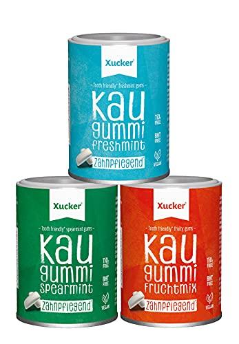 Xucker - 3er Xylit Kaugummi-Set (3 x 100 g) - Spearmint, Fruchtmix und Freshmint
