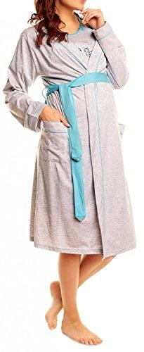 Happy Mama Conjunto de camisón y bata para hospital y lactancia385p. - Rosado - US 14