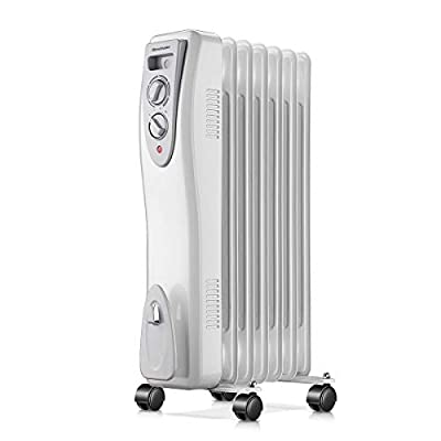 Homeleader Oil Heater, Portable Space Heater with Thermostat, 1500W Oil Filled Radiator Full Room Heater with Tip Over & Overheat Protection for Indoor Use, White
