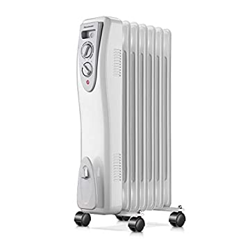Homeleader Oil Heater  Portable Space Heater with Thermostat 1500W Oil Filled Radiator Full Room Heater with Tip Over & Overheat Protection for Indoor Use White