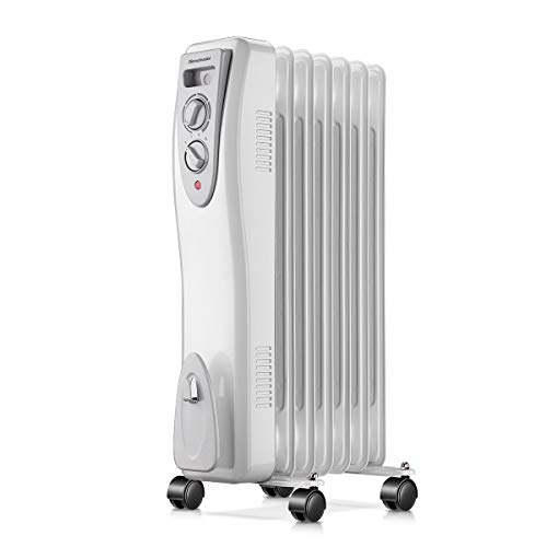 Homeleader Oil Heater , Portable Space Heater with Thermostat, 1500W Oil Filled Radiator Full Room Heater with Tip Over & Overheat Protection for Indoor Use, White
