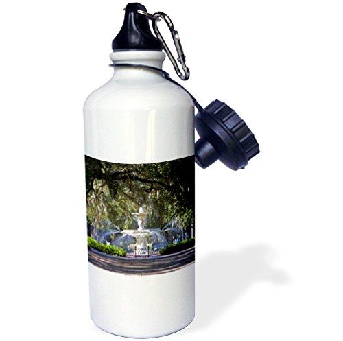 3dRose wb_89316_1'Water fountain, Forsyth Park, Savannah, Georgia US11 DFR0070 David R. Frazier' Sports Water Bottle, 21 oz, White