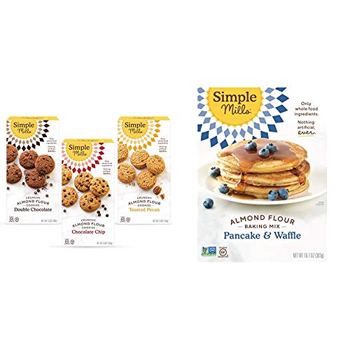 Simple Mills, Cookies Variety Pack, Chocolate Chip, Double Chocolate Chip, Toasted Pecan Variety Pack, 3 Count (Packaging May Vary) & Almond Flour Pancake Mix & Waffle Mix, Gluten Free