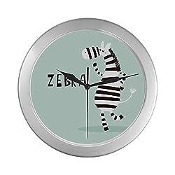 ZXWXNLA Wall Clock for Bedroom Funny Cute Zoo Animal Cool Cartoon Zebra Wall Clocks Decor 9.65 Inch Silver Quartz Frame Decor for Office/School/Kitchen/Living Room/Bedroom