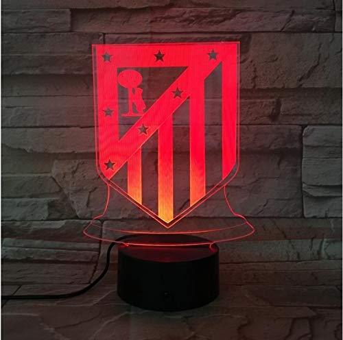 Klsoo Iluminación Club De Luces Nocturnas Led Atlético De Madrid Ilusión 3D Niños La Liga Fútbol Logo Lámpara De Noche Mesa De Noche Niño
