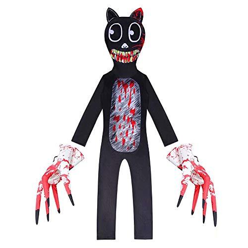 Disfraz de Gato de Dibujos Animados de Miedo para niños, Disfraz de Personaje de Leyenda Urbana, Monstruo de Terror para niños, Mono de Cosplay de Halloween
