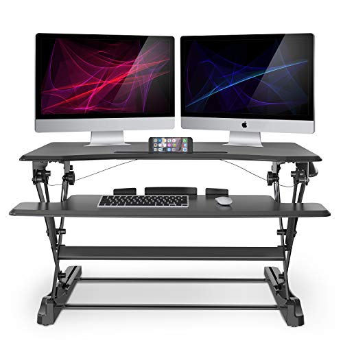 LENTION Gas Spring Height Adjustable Riser Converter Standing Desk Comply with Sit to Stand Ergonomic Principle with 35'' Wide Tabletop Workstation fits Dual Monitors - Classic Black