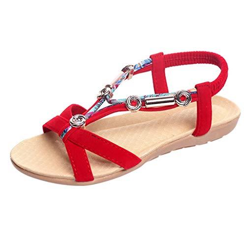 Luckycat Mujer Elegante Sandalias de Vestir Estilo Boho Rhinestone Abalorios Sandalias Planas Cómodo Elástico T-Correas Peep-Dedo Sandalias Talla Grande 36-42
