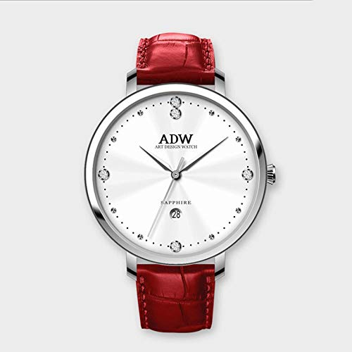 Rebily 2021 Fluyendo Planeta Air Señoras Reloj Rosa Gold Cuero Band Watch Simple Style Quartz Women Fashion Watch 30m Impermeable (Color : Plata)