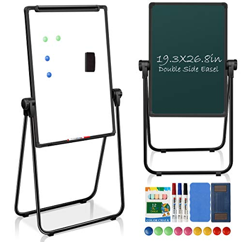"JOYOOSS Dry Erase Board 19.3"" x 26.8"" Magnetic Portable White Board with Stand Height Adjustable Foldable & 360° Rotating Flipchart Easel for Home Office School Outdoor (Black)"