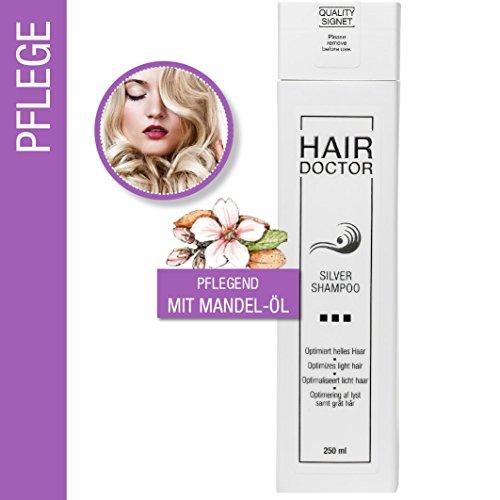 Hair Doctor Silver Shampoo Neutralisiert den Gelbstich Sanfte Reinigung und Pflege durch hochwertiges Mandelkernöl 250ml
