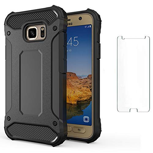 Phone Case for Samsung Galaxy S7 Edge with Tempered Glass Screen Protector Cover and Cell Accessories Rugged Heavy Dual Layer Full Body Glaxay S7edge S 7 Plus GS7 7s 7edge Women Men Cases Black