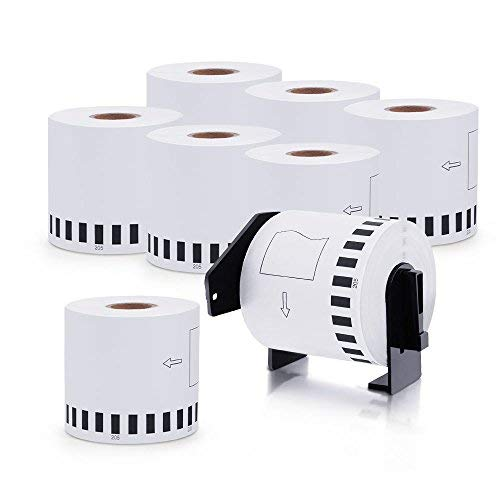 MarkDomain Compatible Label Roll Replacement for Brother DK-2205 White Continuous 2.4in x 100ft (62mm x 30.4m) Paper With One Refillable Cartridge for QL 500 700 800 810W 820NWB 1060N Printer(8 Rolls)